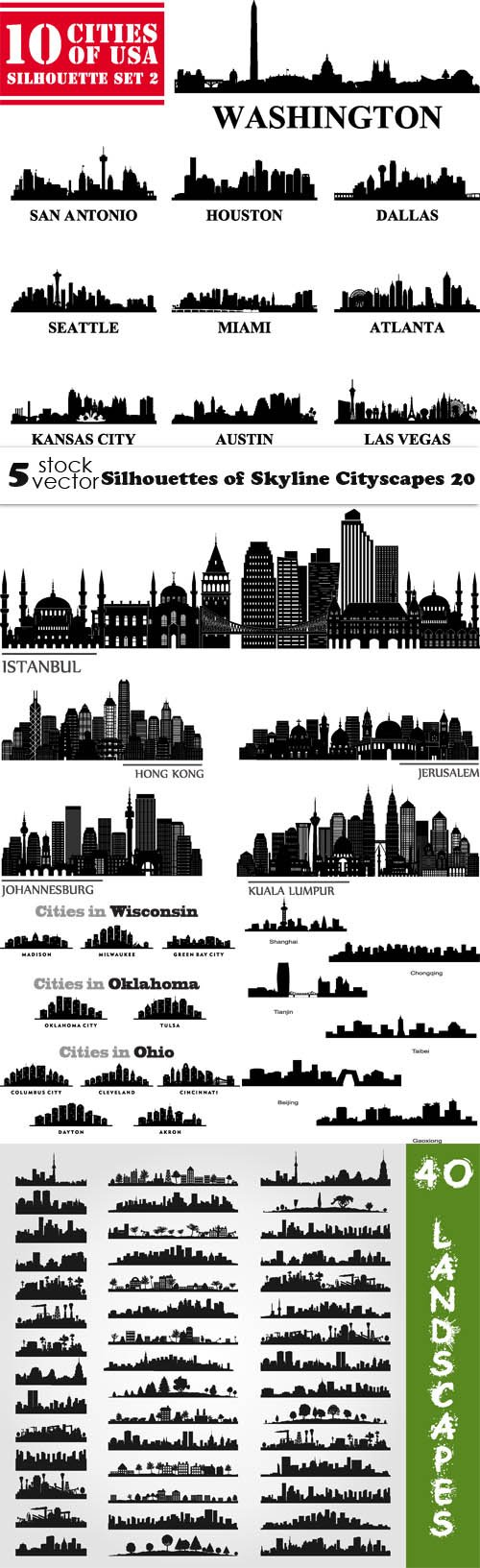 Vectors - Silhouettes of Skyline Cityscapes 20
