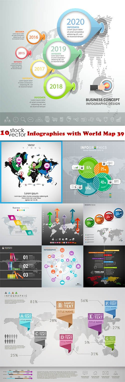 Vectors - Infographics with World Map 39