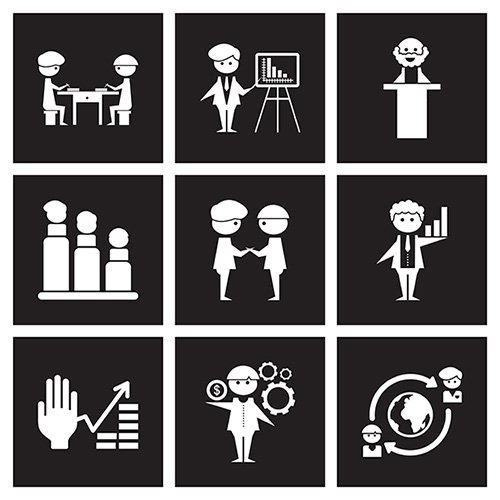 Concept flat icons in black and white