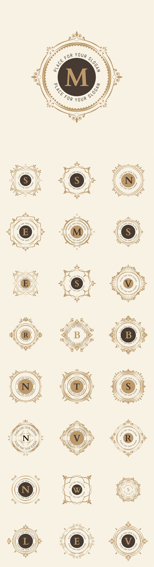 Vector The letters. Flourishes Calligraphic Monogram Emblem Templates