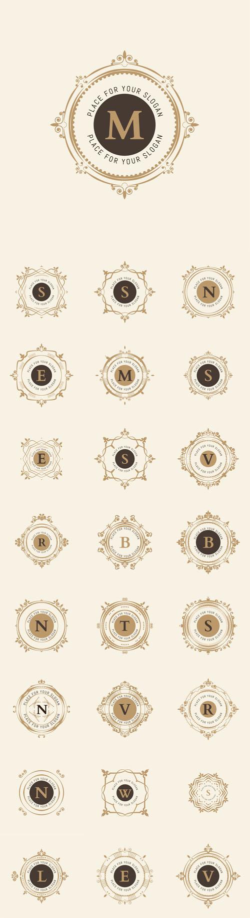 Vector The letters. Flourishes Calligraphic Monogram Emblem Templates