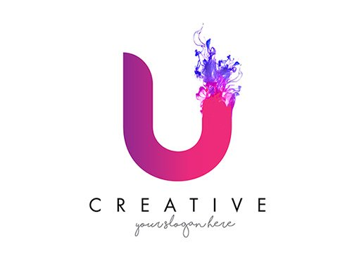 Logo design with ink cloud flowing texture