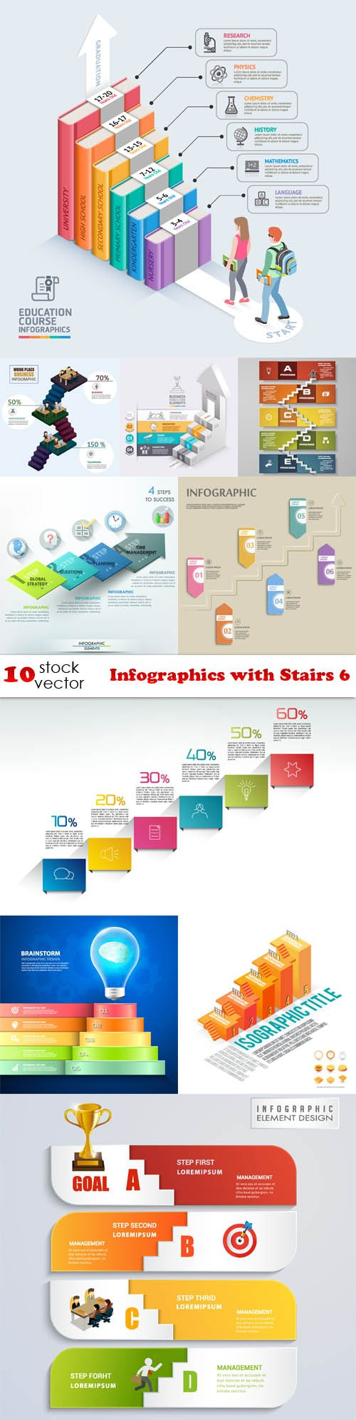 Vectors - Infographics with Stairs 6