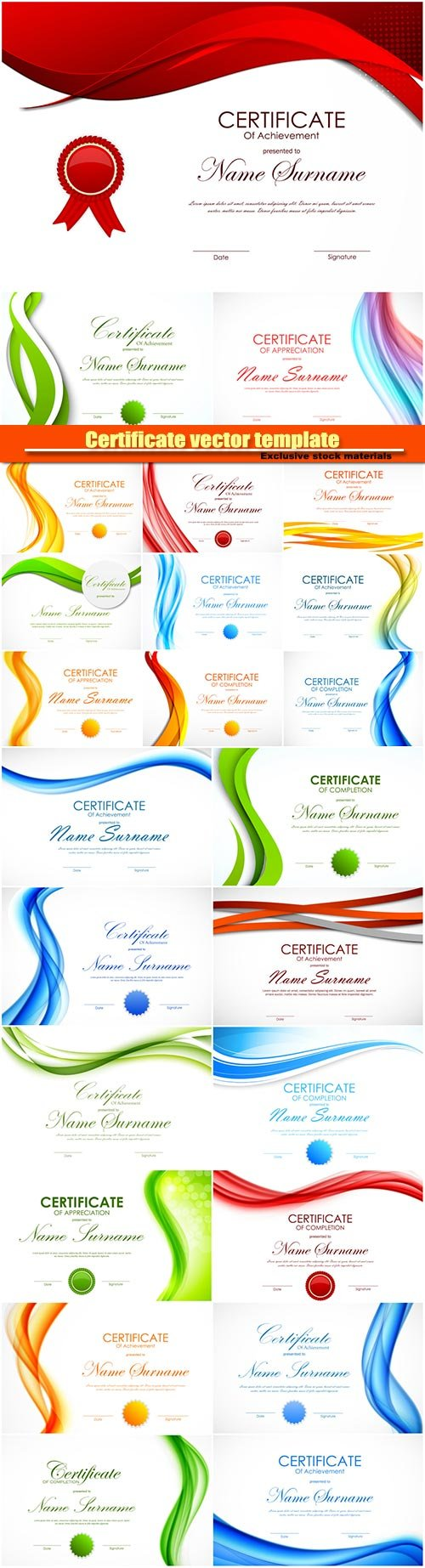 Certificate vector template with light dynamic color wavy curved background and seal