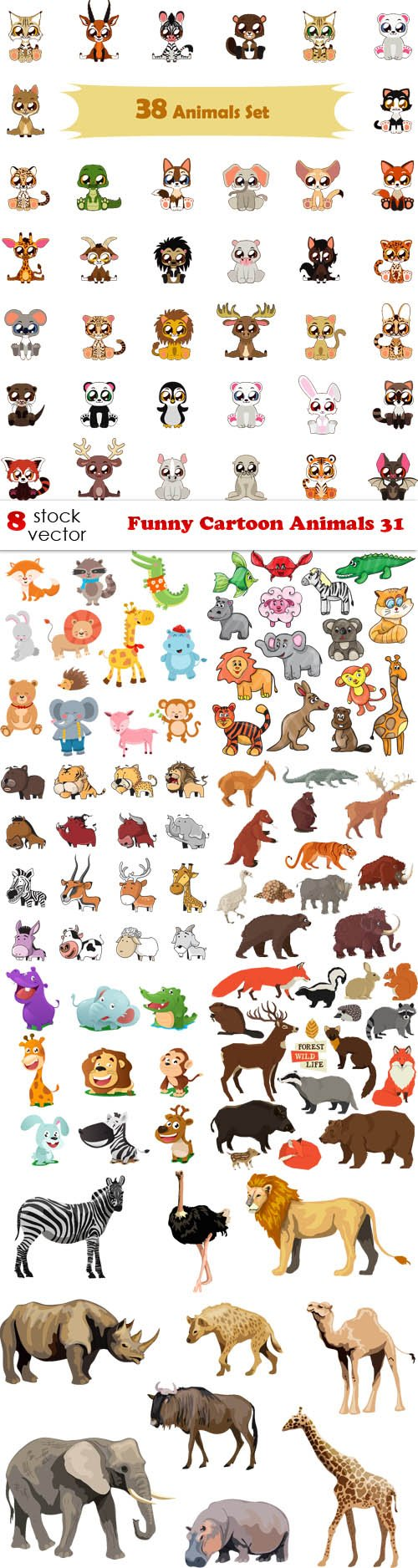 Vectors - Funny Cartoon Animals 31