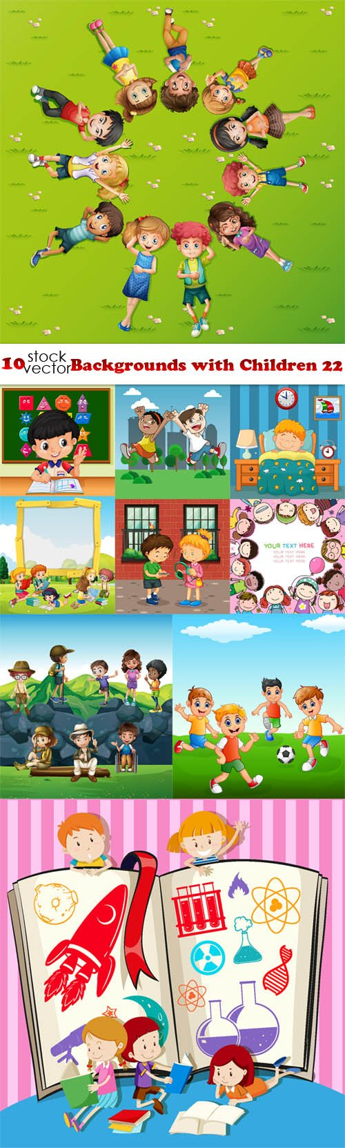 Vectors - Backgrounds with Children 22