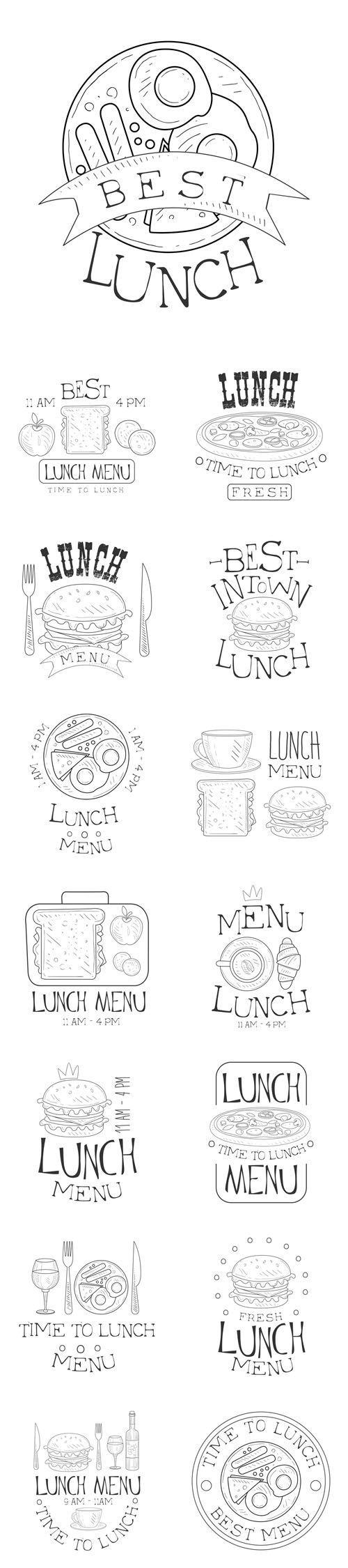 Vector Best Cafe Lunch Menu Promo Signs In Sketch Style