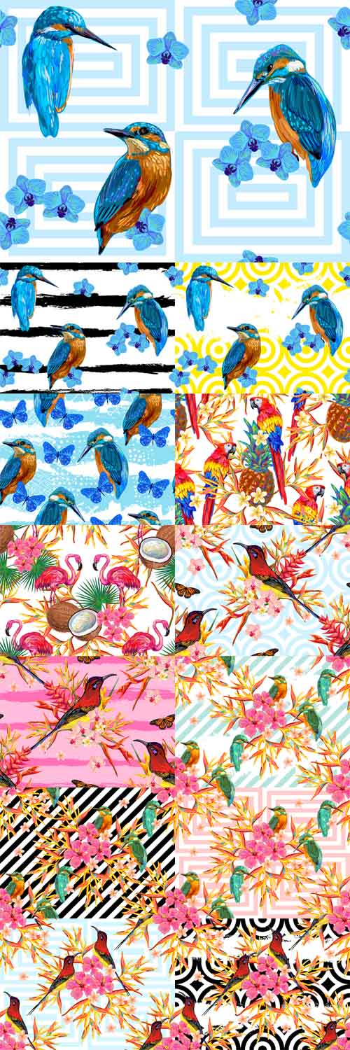 Vector Seamless Summer Tropical Pattern with Birds
