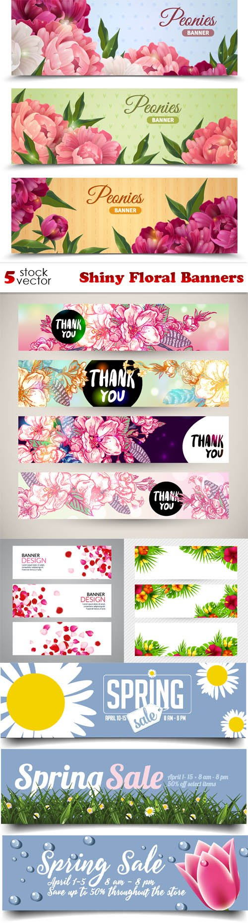 Vectors - Shiny Floral Banners