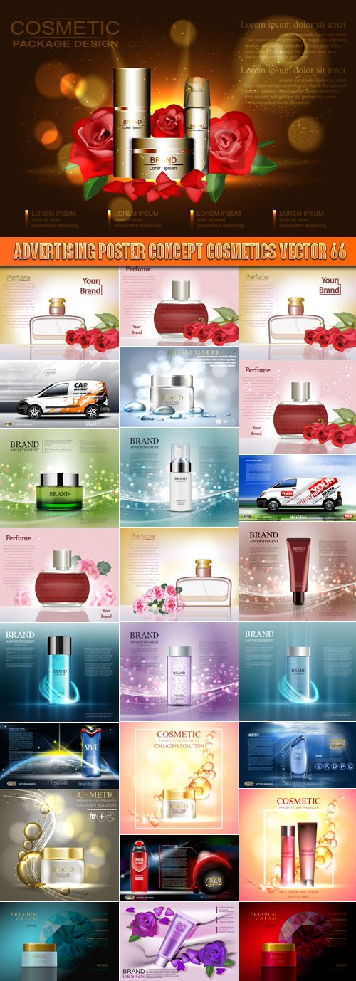 Advertising Poster Concept Cosmetics vector 66