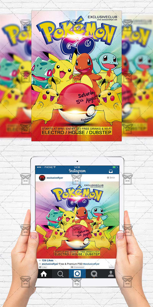 Flyer Template - Pokemon Go Party