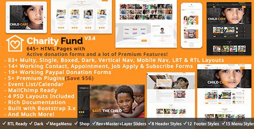 ThemeForest - CharityFund v3.2 - Nonprofit, Fundraising, Charity & Crowdfunding Responsive HTML5 Template - 13798746