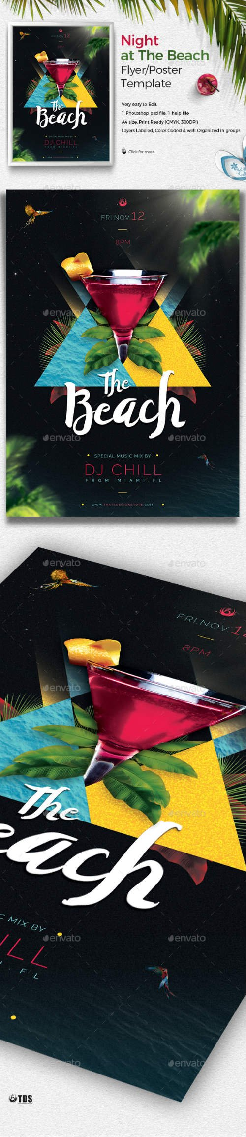GR - Night at The Beach Flyer Template 19516780