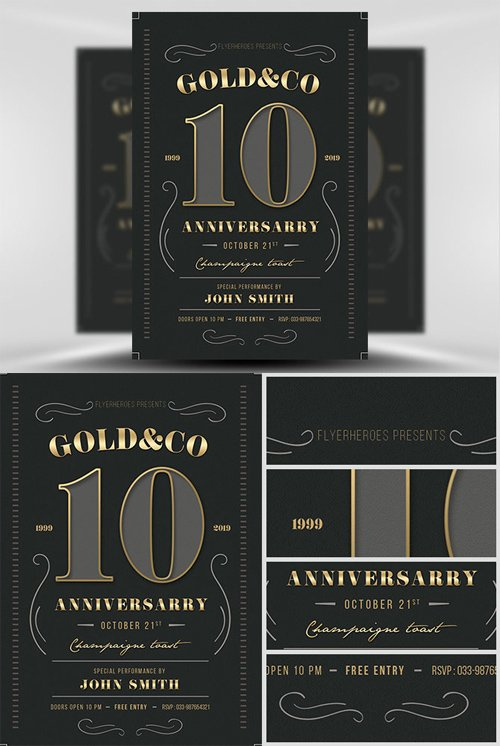 Flyer Template - Modern Vintage Business Anniversary