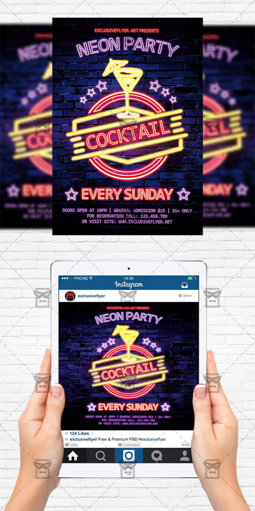 Flyer Template - Neon Cocktail Party