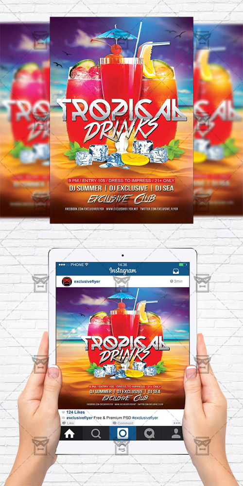 Flyer Template - Tropical Drinks