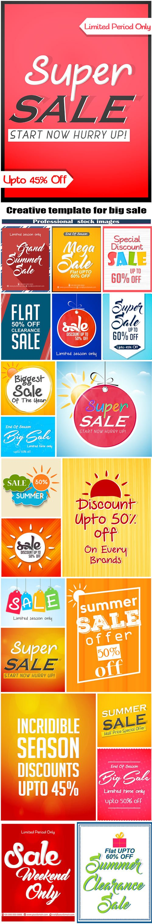 Creative vector template for big sale