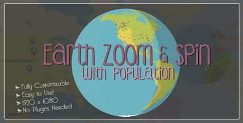 Earth Zoom and Spin with Population Template - Project for After Effects (Videohive)
