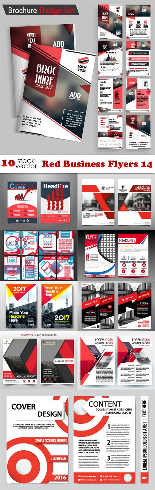 Vectors - Red Business Flyers 14