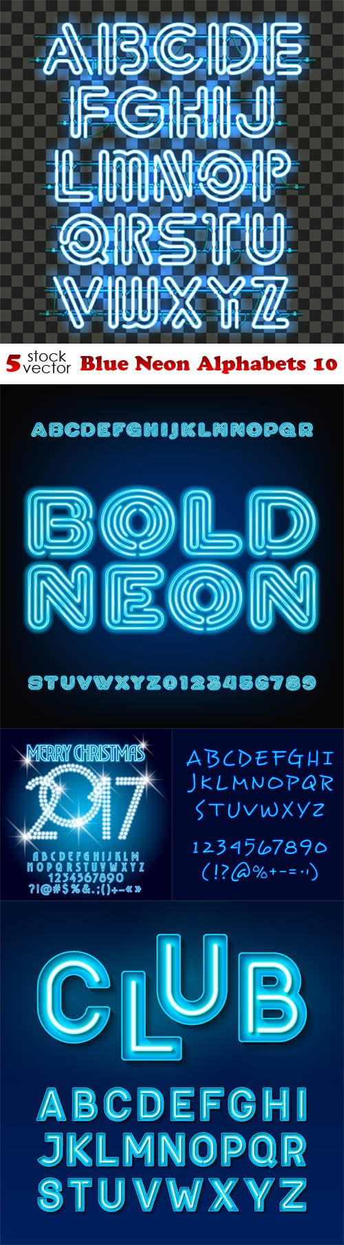 Vectors - Blue Neon Alphabets 10