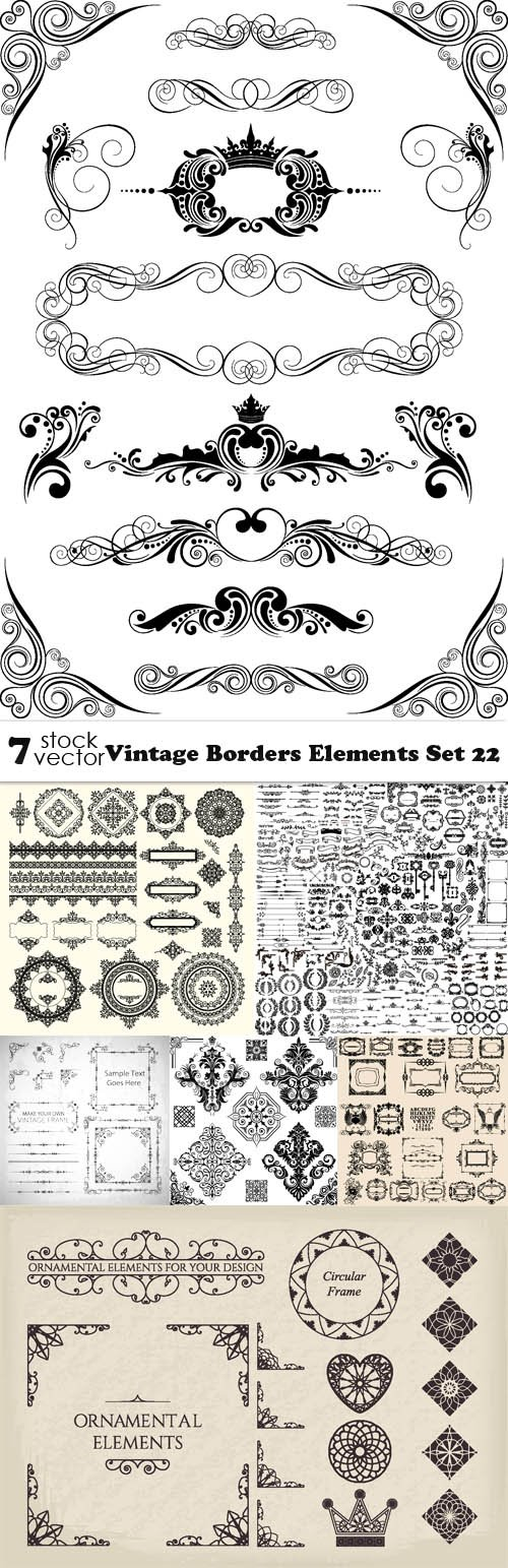 Vectors - Vintage Borders Elements Set 22