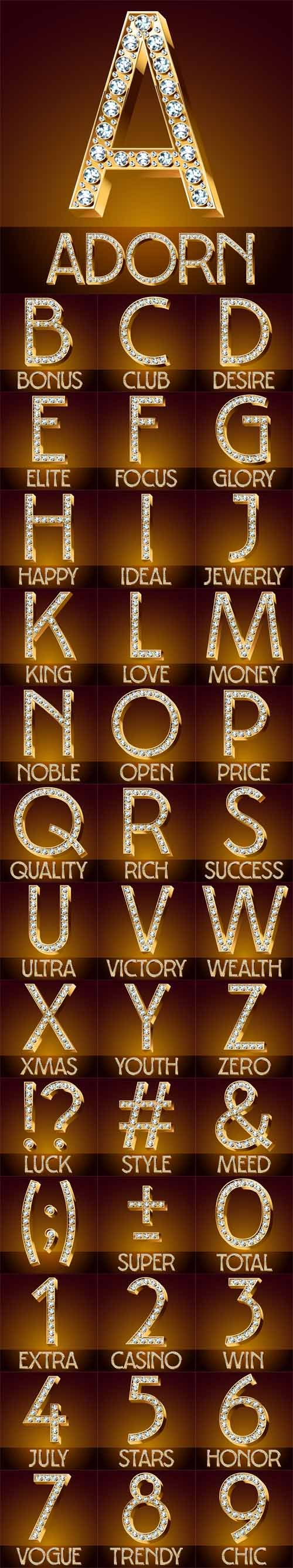 Vector Chic Font Luxury Brilliant. Gold Symbols