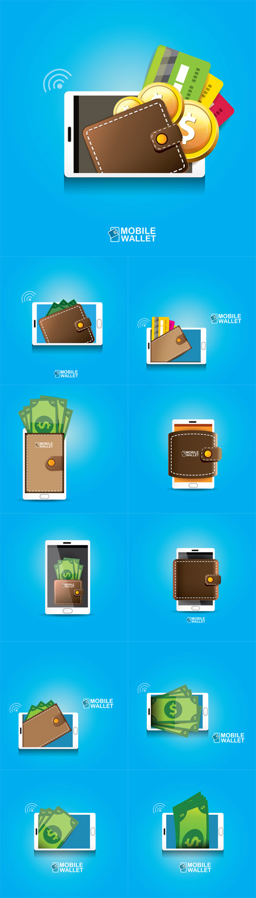 Vector Digital Mobile Wallet Concept Icons 2