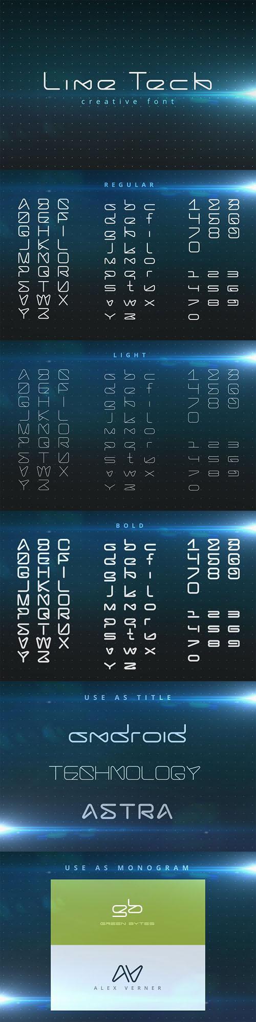 LineTech futuristic technology font 841052