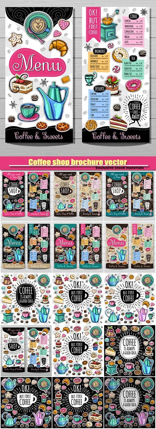 Coffee shop brochure vector, cafe menu design, coffee, desserts, tea, breakfast, cakes