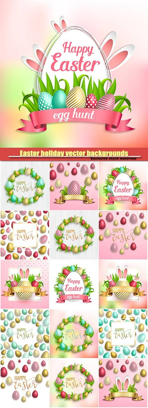 Easter holiday vector backgrounds