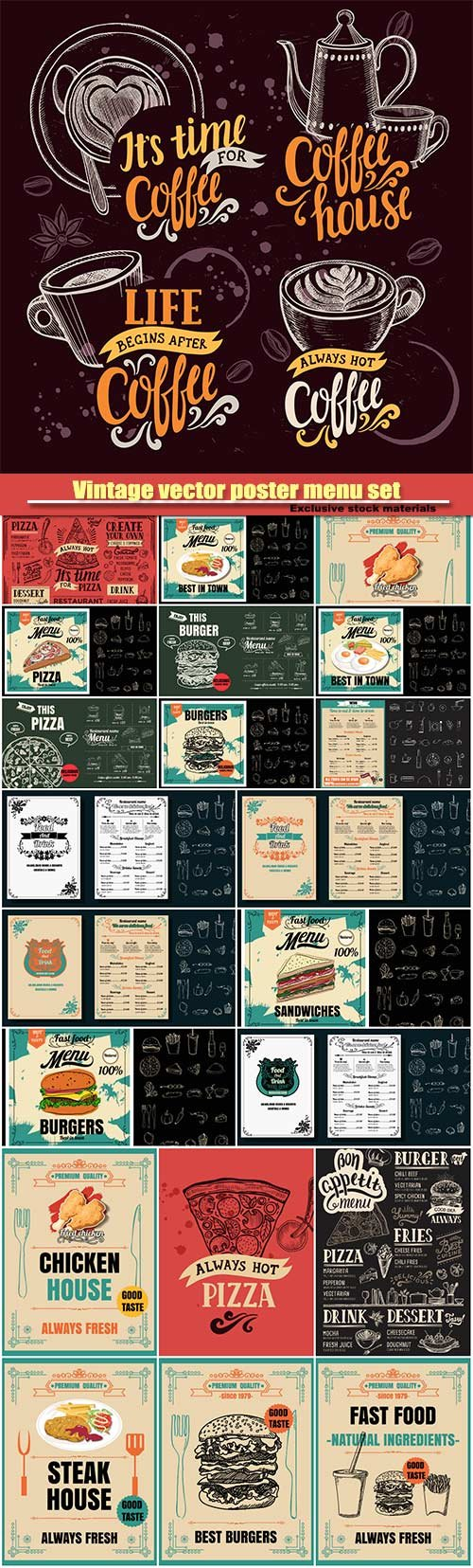 Vintage vector poster menu set