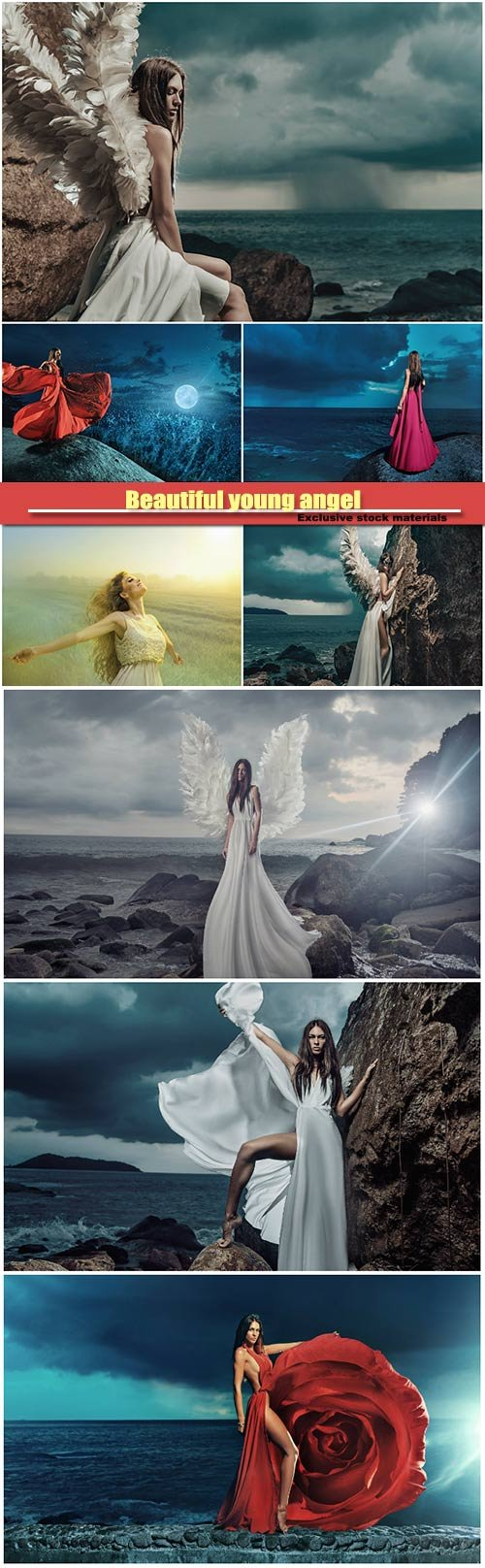 Beautiful young angel climbing on the cliff, lady looking at the storm on the ocean