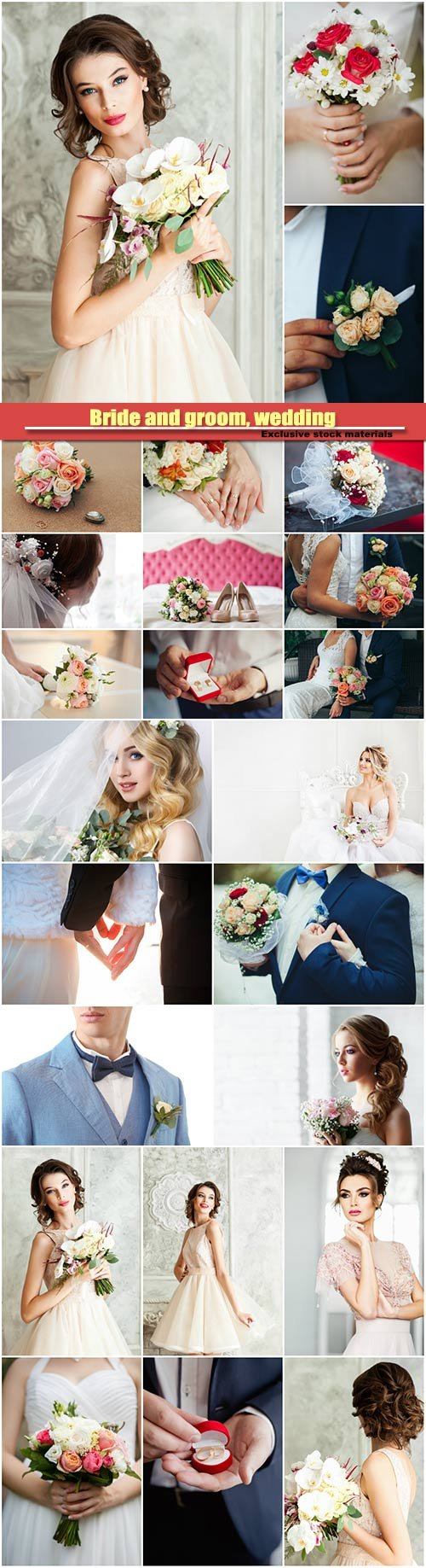 Wedding bouquet in the hands of the bride, bridegroom holds wedding bouquet