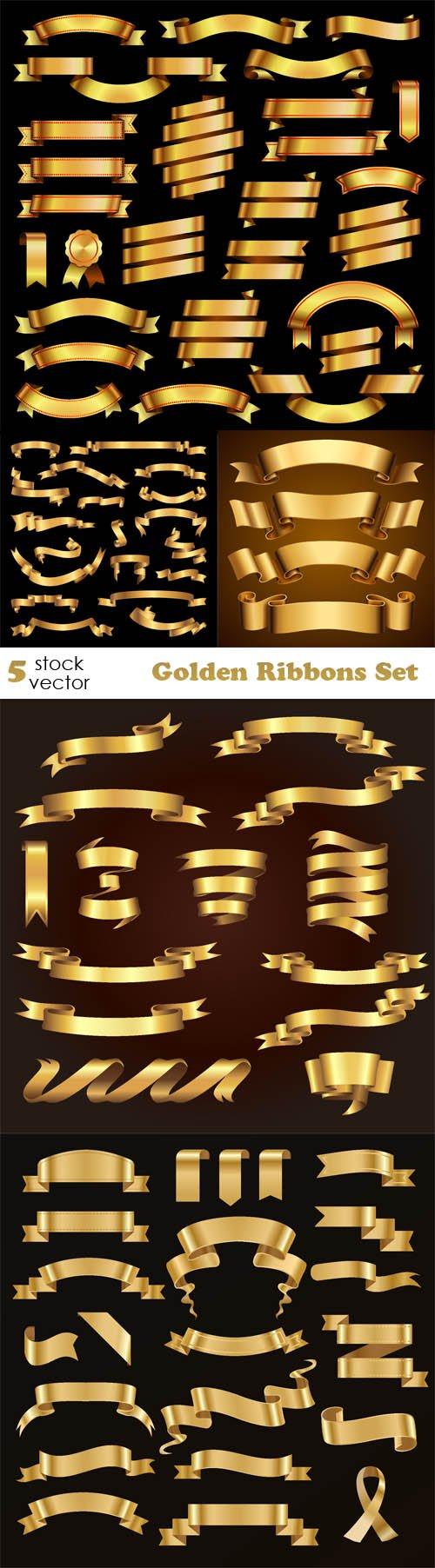 Vectors - Golden Ribbons Set