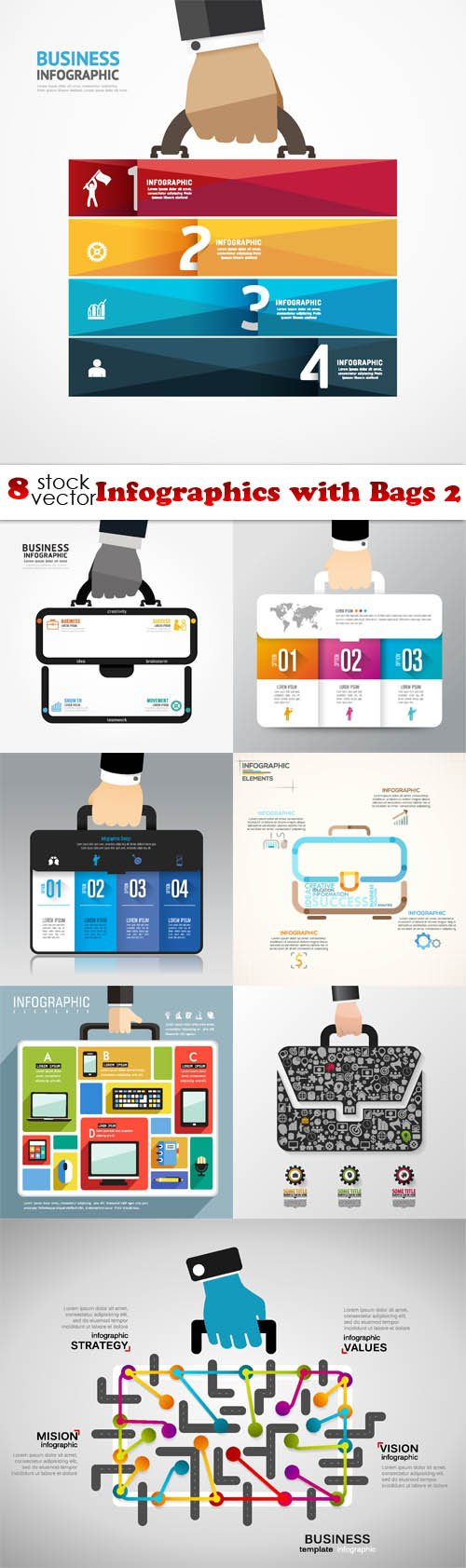 Vectors - Infographics with Bags 2