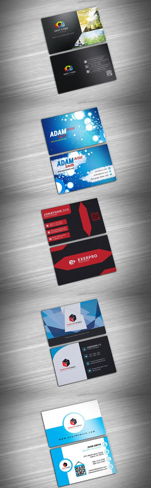 Business Card PSD Bundle - 5 Cards