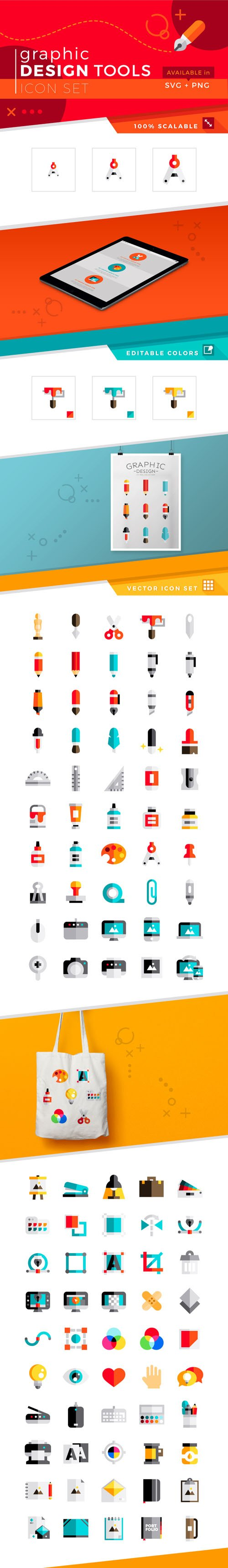 100 Graphic Design Tools Icons (SVG/PNG)