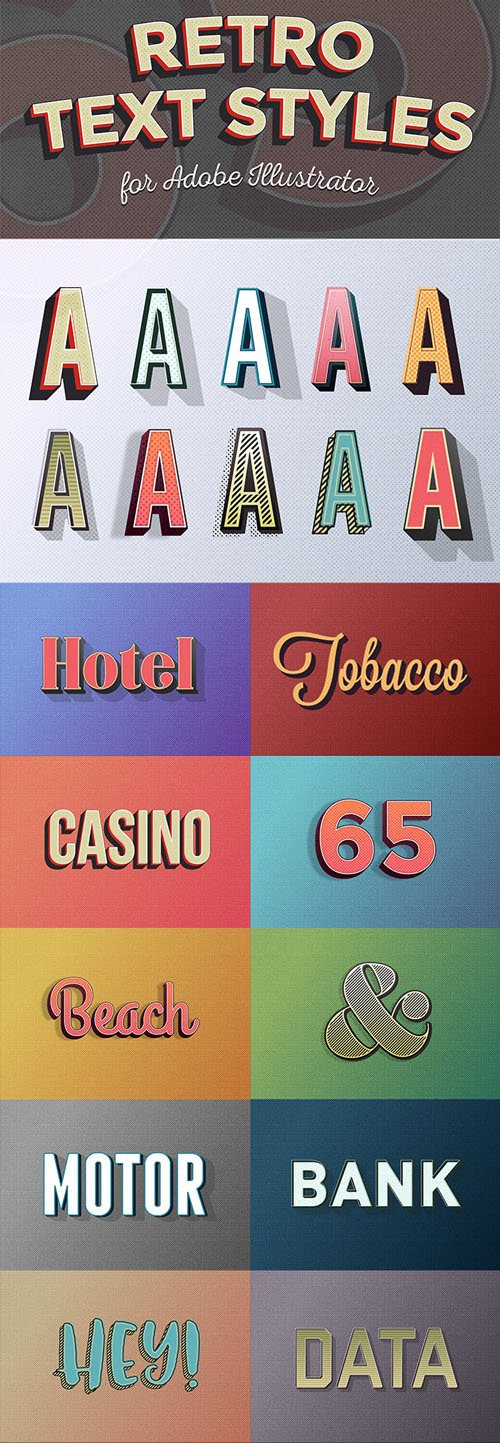 10 Retro Text Effect Graphic Styles in Vector