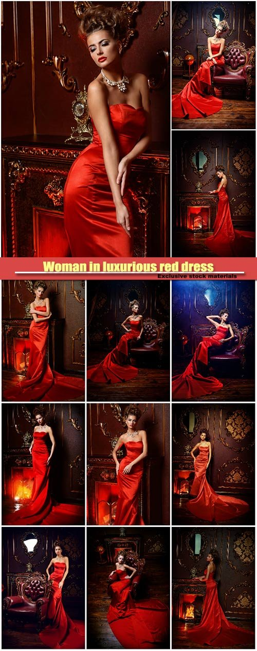 Woman in luxurious red dress and precious jewelry