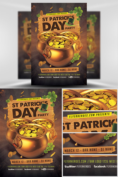 Flyer Template - St. Patricks Day Gold Party