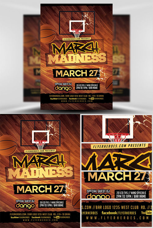 Flyer Template - March Madness Basketball v3