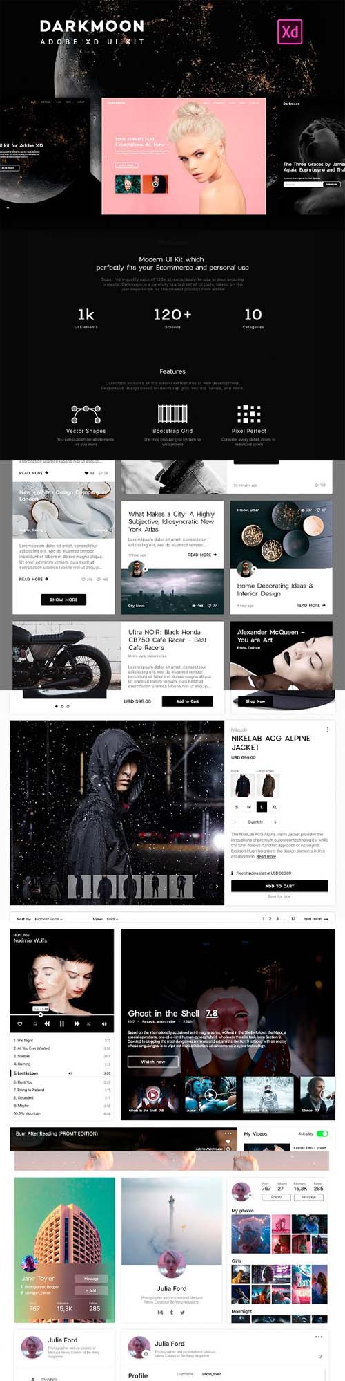 Dark moon UI Kit. UX/UI Design 1311499