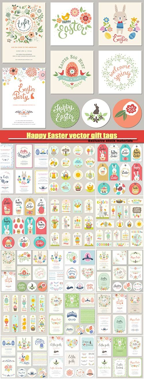 Happy Easter vector gift tags and cards with Easter bunny