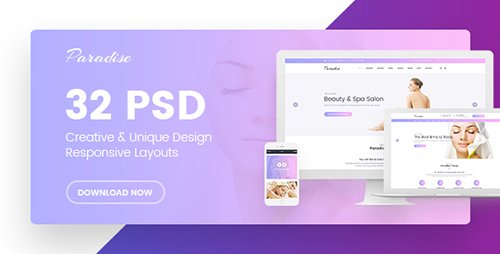 ThemeForest - Paradise v1.0 - Multipurpose Beauty & Spa, HairCut, Nail, Tattoo Psd Templates - 19529792