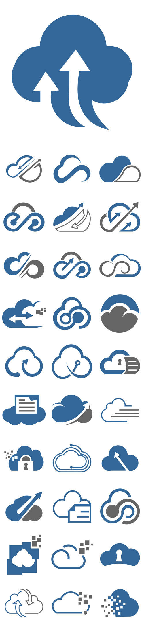 Vector Simple Cloud Logo Icon Template Package Data