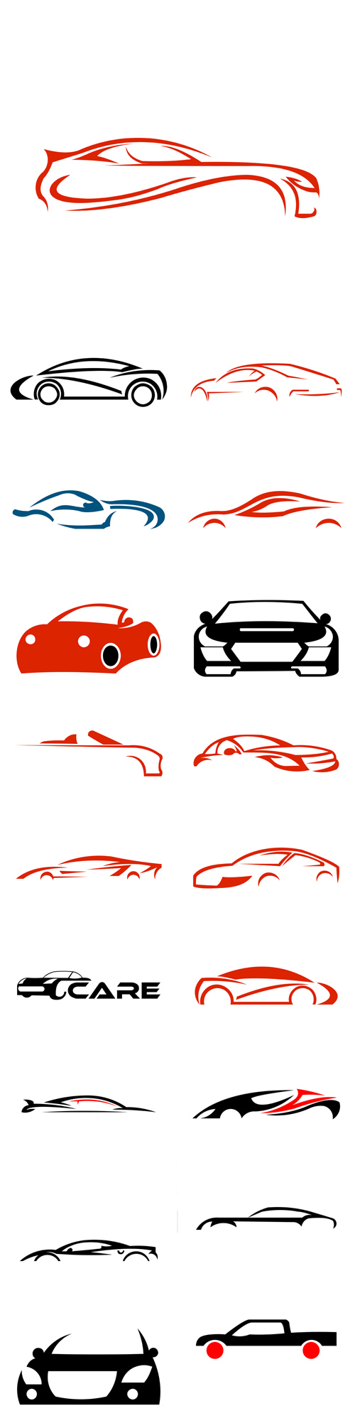 Vector Auto Company Logo Design Concept with Sports Car Silhouette