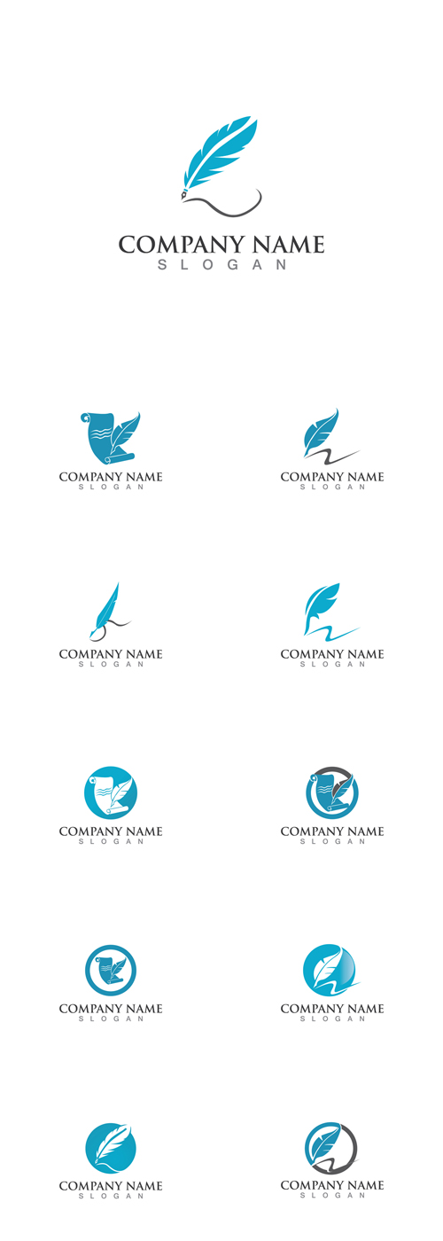 Vector Pen Write Feather Logos