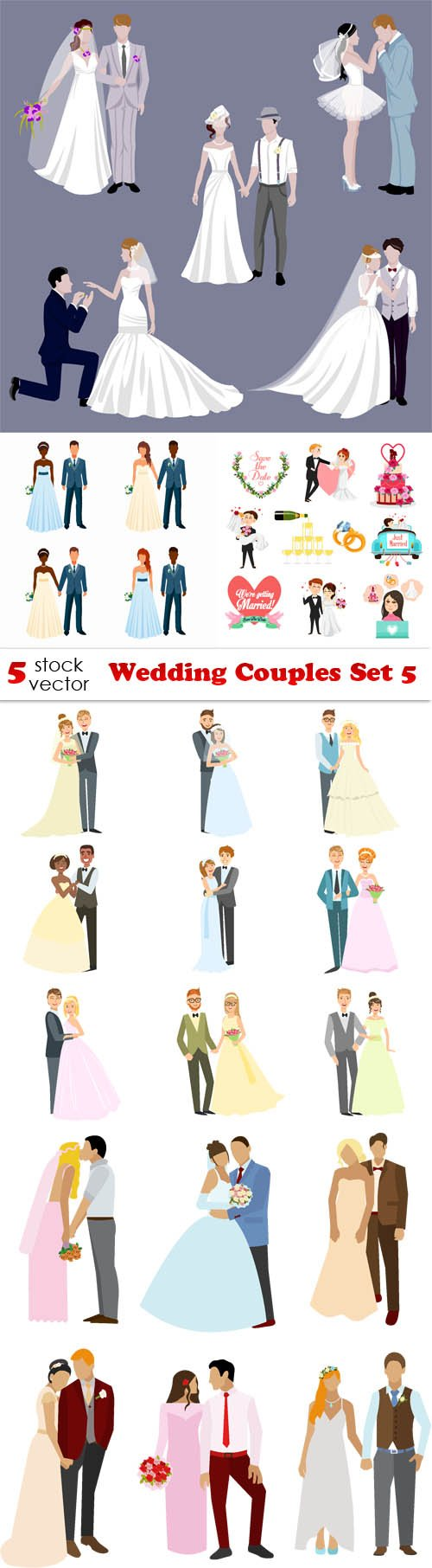Vectors - Wedding Couples Set 5