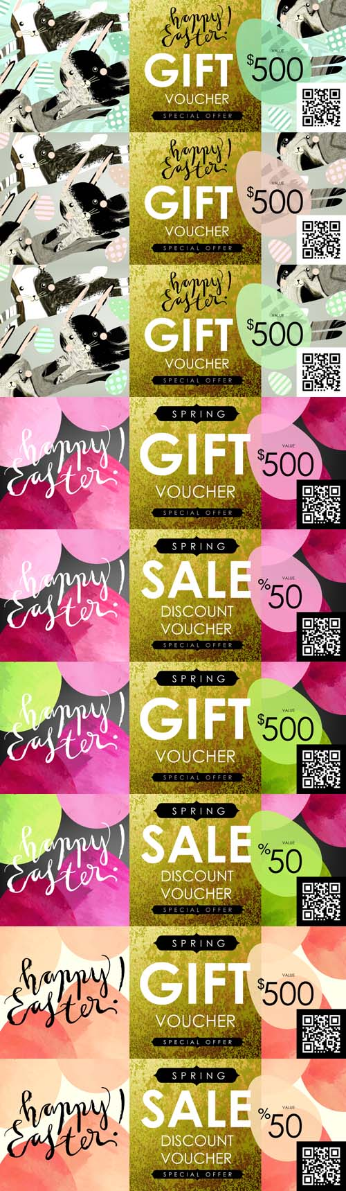 Vector Gift certificate, Voucher, Coupon Template with Festive Eggs and Shabby Gold Texture