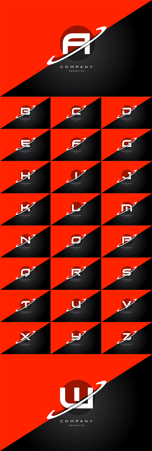 Vector Red Black Technology Alphabet Company Letter Logo Icon